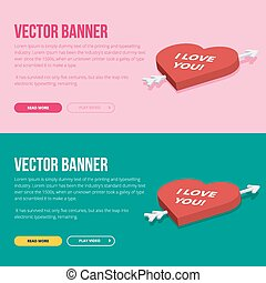 Set of 2 love banners for web development.