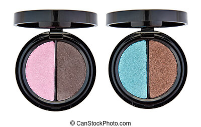 Set of 2 multicolored eye shadows isolated on white