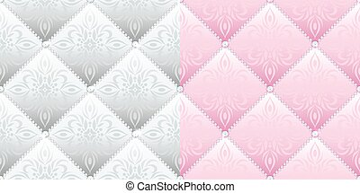 Set of 2 satin quilted seamless texture of silver and pink fabric with diamond buttons and classic pattern