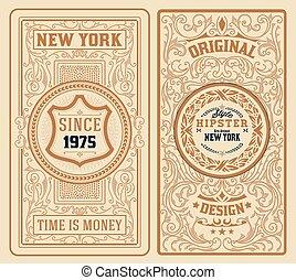 Set of 2 vintage labels with floral ornaments