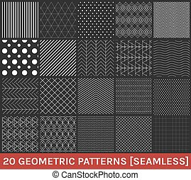 Set of 20 abstract geometric patterns black background