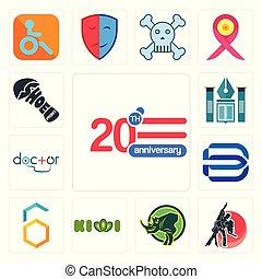 Set of 20 anniversary, dance studio, rhino, kiwi, hex, minimal b, doctor, educational institute, shoe print icons
