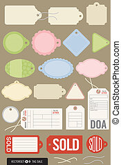 Vector illustrations of gift tags, price tags, inventory tags, sold tags, and even a toe tag. Includes strings and all colors and shapes are easy to edit.