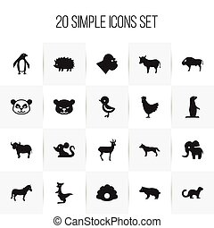 Set Of 20 Editable Animal Icons. Includes Symbols Such As...