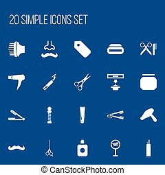Set Of 20 Editable Barber Icons. Includes Symbols Such As...