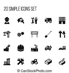 Set Of 20 Editable Construction Icons. Includes Symbols Such As Apartment, Spatula, Camion And More