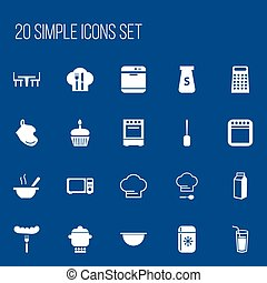 Set Of 20 Editable Cook Icons. Includes Symbols Such As Salt, Food, Oven And More. Can Be Used For Web, Mobile, UI And Infographic Design.