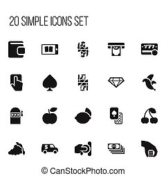 Set Of 20 Editable Excitement Icons. Includes Symbols Such As Push Cursor, Currency Camion, Throwing Coin And More