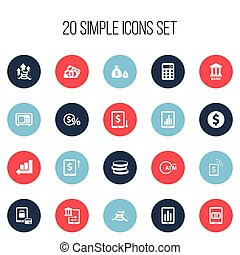 Set Of 20 Editable Financial Icons. Includes Symbols Such As Calculator, Safe, Decrease And More. Can Be Used For Web, Mobile, UI And Infographic Design.