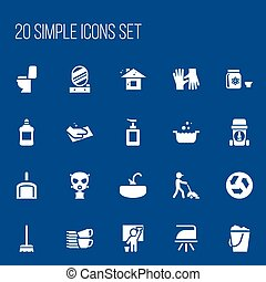 Set Of 20 Editable Hygiene Icons. Includes Symbols Such As Housekeeper, Scoop, Restroom And More. Can Be Used For Web, Mobile, UI And Infographic Design.