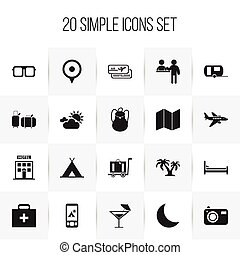 Set Of 20 Editable Journey Icons. Includes Symbols Such As Hotel, Mattress, Tree And More. Can Be Used For Web, Mobile, UI And Infographic Design.