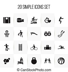 Set Of 20 Editable Lifestyle Icons. Includes Symbols Such As Gauntlet, Workout, Cloth Ruler And More. Can Be Used For Web, Mobile, UI And Infographic Design.