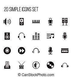 Set Of 20 Editable Music Icons. Includes Symbols Such As Mp3 Player, Volume, Media Interview And More. Can Be Used For Web, Mobile, UI And Infographic Design.