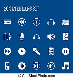 Set Of 20 Editable Song Icons. Includes Symbols Such As Retro Tuner, Next, Forward And More. Can Be Used For Web, Mobile, UI And Infographic Design.
