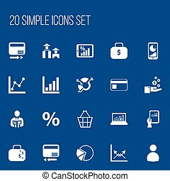 Set Of 20 Editable Statistic Icons. Includes Symbols Such As Trading Purse, Pie Graphic, Graph Information And More. Can Be Used For Web, Mobile, UI And Infographic Design.