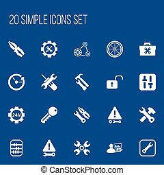 Set Of 20 Editable Toolkit Icons. Includes Symbols Such As Opened Padlock, Screwdriver Wrench, Utility And More. Can Be Used For Web, Mobile, UI And Infographic Design.