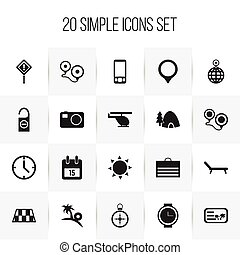 Set Of 20 Editable Travel Icons. Includes Symbols Such As...