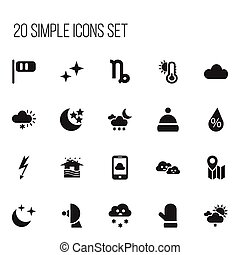Set Of 20 Editable Weather Icons. Includes Symbols Such As Breeze Cone, Interest, Twilight And More. Can Be Used For Web, Mobile, UI And Infographic Design.