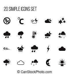 Set Of 20 Editable Weather Icons. Includes Symbols Such As...