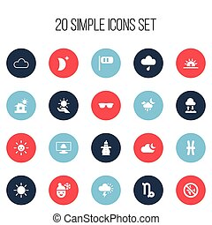 Set Of 20 Editable Weather Icons. Includes Symbols Such As No Flight, Eyeglasses, Solar And More. Can Be Used For Web, Mobile, UI And Infographic Design.