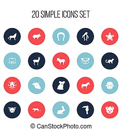 Set Of 20 Editable Zoo Icons. Includes Symbols Such As Diver, Tentacle, Australian Bear And More. Can Be Used For Web, Mobile, UI And Infographic Design.