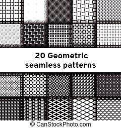 Set of 20 monochrome seamless patterns