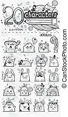 Set of 20 vector doodle hand drawn cartoon characters