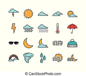 Set of 20 weather line icons