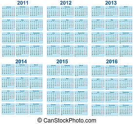 Set of 2011 - 2016 Calendar