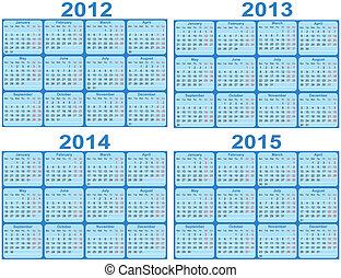 Set of 2012, 2013, 2014, 2015 Calen