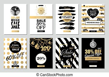 Set of 2017 Happy New Year Templates Sale Banners for Websites and Mobile Websites with black, white, gold colors.