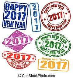 Set of 2017 new year stamps