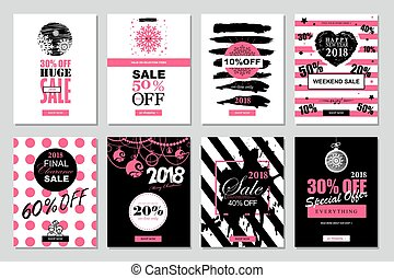 Set of 2018 Happy New Year Sale Banners Templates for on-line shopping with black, white, pink colors.