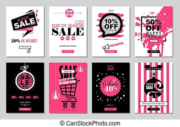 Set of 2019 Happy New Year Sale Banners Templates for on-line shopping with black, white, pink colors.