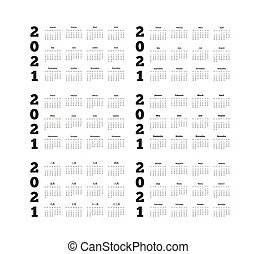 Set of 2021 year simple calendars on different languages ...