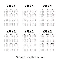 Set of 2021 year simple vertical calendars on different ...