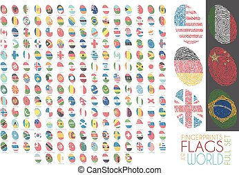 Set of 204 fingerprints colored with the national flags of all the sovereing countries of the world. Icon set Vector Illustration.