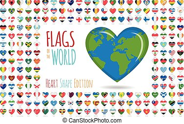 Set of 204 heart shaped flags of all the sovereing countries of the world. Icon set Vector Illustration.