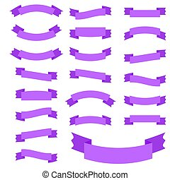 Set of 21 flat violet isolated ribbon banners. Suitable for design.
