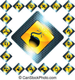 Set of 21 yellow hazard signs - Collection of glass and...