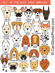 Set of 24 colored dogs different breeds handmade. Head dog....