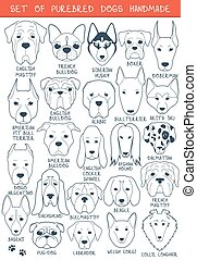 Set of 24 dogs different breeds handmade. Head dog - Set of...