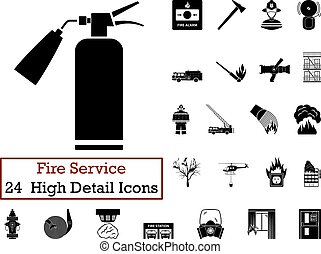 Set of 24 Fire service Icons in Black Color.Vector...
