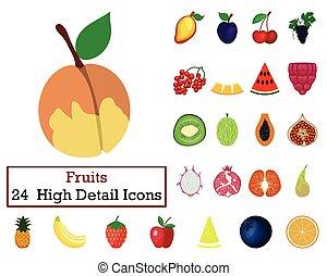 Set of 24 Fruit Icons