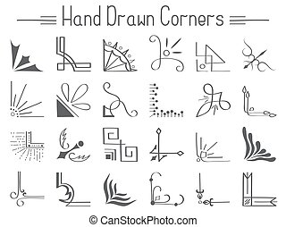 Set of 24 hand drawn corners and design elements