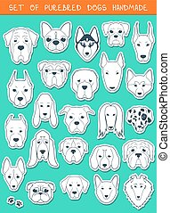 Set of 24 stickers different breeds dogs, handmade. Head...