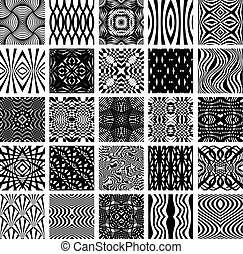 Set of 25 black and white geometric seamless patterns.