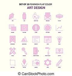 Set of 25 Feminish Art Design Flat Color Pink Icon set
