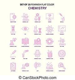 Set of 25 Feminish Chemistry Flat Color Pink Icon set