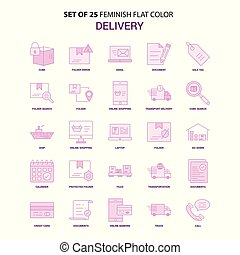 Set of 25 Feminish Delivery Flat Color Pink Icon set